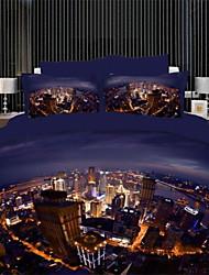 3d couverture lumières de la ville de couette fixe queen size 100% coton