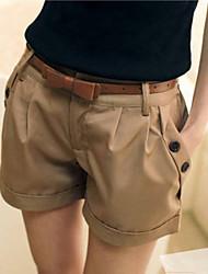 Mulheres Calças Casual Shorts Misto de Algodão Micro-Elástica Mulheres