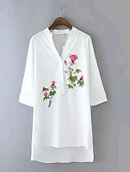Women's Europe V-Neck Casual/Print Micro-elastic ½ Length Sleeve Long Shirt Top Blouse (Cotton/Elastic)