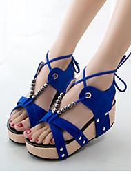 Sandales ( Noir/Bleu/Bourgogne Escarpin-sandale/Spartiates - Hauteur de semelle compensée - Toison - pour FEMMES