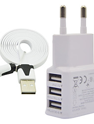 2A EU Three USB Mobile Phone Charger + V8 1M Noodle Line For Samsung