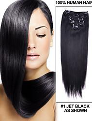 10inch-30inch clip 120g en brésilien couleur extensions de cheveux (# 1 # 1b # 613) du clip dans les extensions droite