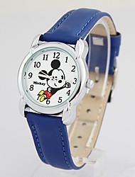 venta caliente de los niños de dibujos animados famosa marca disney moda banda de cuero genuino cuarzo Wacthes dc-54021