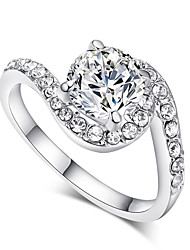 T&C Women's Valentine's Day Gift 18k White Gold Plated Jewelry with Stellux Cubic Zirconia Rings