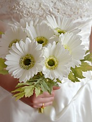 "Romantic White Pink Red Real Touch Gerberas Bouquet 7 Stems/Bouquet Bouquet 6.29"" for Bridal and Wedding Decoration"