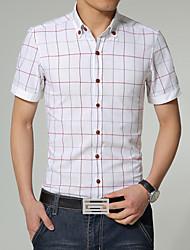 Men's Fashion Plaid Slim Short Sleeved Shirt