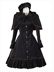 Long Sleeve Knee-Length Black Polyester School Lolita Dress
