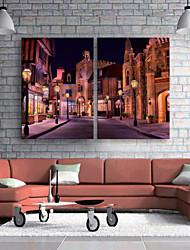 E-Home® gestreckt geführt Leinwanddruck Kunst auf den Straßen in der Nacht führte blinkenden Lichtwellenleiter Drucksatz von 2