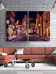 E-HOME® Stretched LED Canvas Print Art The Streets At Night LED Flashing Optical Fiber Print Set of 2