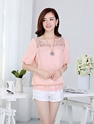 Women's Casual/Daily Simple Summer Blouse,Solid Round Neck ½ Length Sleeve Pink / White / Yellow Thin