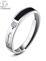 Poetry Dreams Sterling Silver Solitaire Arrow Adjustable Ring Men's Ring
