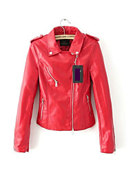 Women's Solid Color Long Sleeve Leather Jacket