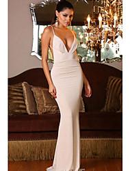tiefe V-Ausschnitt Backless reizvolles Abendkleid der Frauen