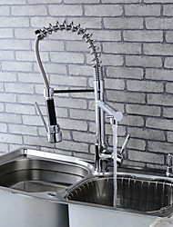 Modern Single Brass Spring Kitchen Faucet - Silver