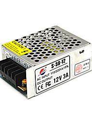 adaptador de alimentación s-36-12 12V3A para la luz llevada y cámaras de seguridad cctv (110 ~ 220v)