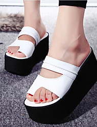 Women's Shoes Patent Leather Wedge Heel Open Toe Slippers Sandals Casual Black/White