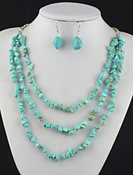 Toonykelly Vintage Irregular  Turquoise Stone Bead (Earring and Necklace) Jewelry Set