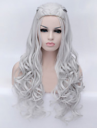 European and American Fashion Cartoon Long Curly Silver Hair Wig
