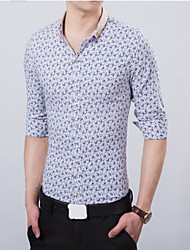 Men's Slim Casual Floral Print Long Sleeve Shirts