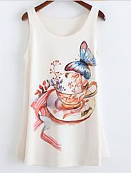 Women's Round Collar Cup Print Tank Top