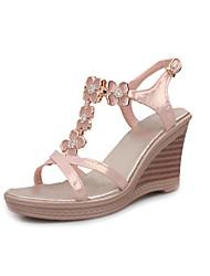Zapatos de mujer - Tacón Cuña - Cuñas / Talón Descubierto - Sandalias - Vestido - Semicuero - Azul / Rosa / Beige