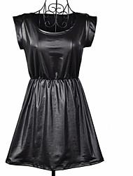 Women's Round Collar Black PU Waist Gather Dresses