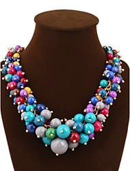 Women's Statement Necklaces Layered Necklaces Gemstone & Crystal Pearl Cubic Zirconia Fashion Statement JewelryRed Green Blue Dark Red
