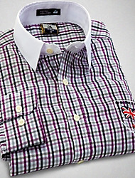 U&Shark New Hot! Men's British Style Navy Printing Long Sleeve Shirt with  Purple and white Small Check &Grain /CHD007