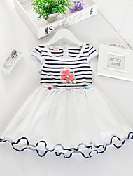 Girl's Summer Micro-elastic Thin Short Sleeve Dresses (Cotton/Organza)