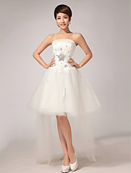 Ball Gown Asymmetrical Wedding Dress -Strapless Velvet