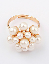Ring Adjustable Party Jewelry Alloy / Imitation Pearl Women Statement Rings 1pc,One Size White