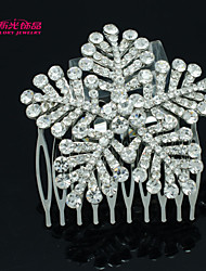 Neoglory Jewelry Snow Flower Hair Comb with Clear Rhinestone for Lady/Wedding/Daily/Pageant