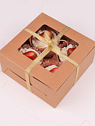 Four Case with Kraft Paper Cup Cake Box (Excluding Accessories)(Set of 10)
