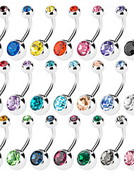 Fashion Stainless Steel Crystal Navel Belly Button Ring Dancing Body Jewelry Piercing (Random Color)