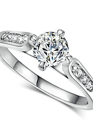 T&C Women's 18k White Gold Plated 4 Prong 1 Carat Simulated Diamond Cz Wedding Rings Valentine's Gift