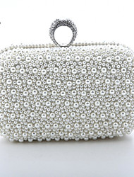 Handcee® Women Fashion Both Sides Pearl Beaded Evening Bag/Luxury Pearl Ring Clutch Bag with Chain