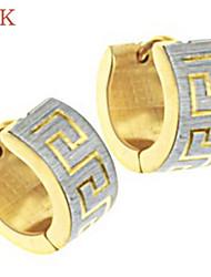 OPK®Great Wall Lines 18 K Gold Plating Titanium Earrings