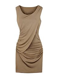 vestido de las mujeres sólido azul / negro / marrón, mangas del bodycon cuello redondo se reunieron