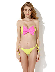 New Sexy Greenish Yellow Bandeau Top Bikini Swimwear with A Playful Bow at the Center Front in Low Price