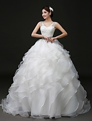 Ball Gown Sweep/Brush Train Wedding Dress -V-neck Organza