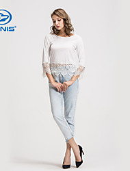 CANIS@Fashion New Ladies' Embroidery Lace Long Sleeves Blouse