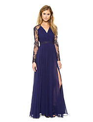 WILL Women's Sexy/Casual/Party V-Neck Long Sleeve Dresses (Chiffon)
