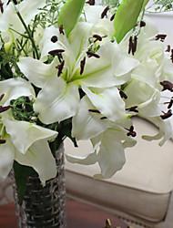 Matériau PU blanc seule branche fleurs artificielles lys de haute qualité placé à la maison des fleurs décoratives