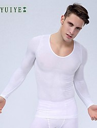 YUIYE® Man Slimming Thermal Underwear Shirt Long Sleeve Body Shaper Firm Tummy Belly Bust Nylon White