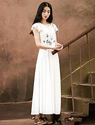 Incern Women's Vintage Floral Print Fluttery Maxi Dress