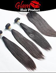 """3 ps 8 """"-28"""" cheveux regroupe w / 1 pc 8 """"-18"""" partie fermeture milieu cheveux malais # 1b extensions de cheveux naturels droites"""