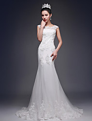 Trumpet/Mermaid Wedding Dress - Ivory Court Train Bateau Tulle