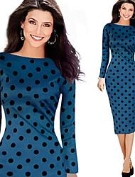 Para Women's Casual/Party Round Long Sleeve Polka Dot Bodycon Dresses (Cotton Blend)