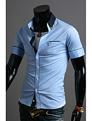 Men's Short Sleeve Shirt , Cotton Blend Casual/Work/Sport Pure