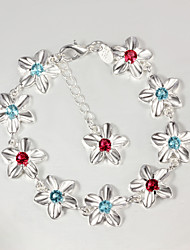 Italy 925 Silver Flower Zircon Design Bracelet